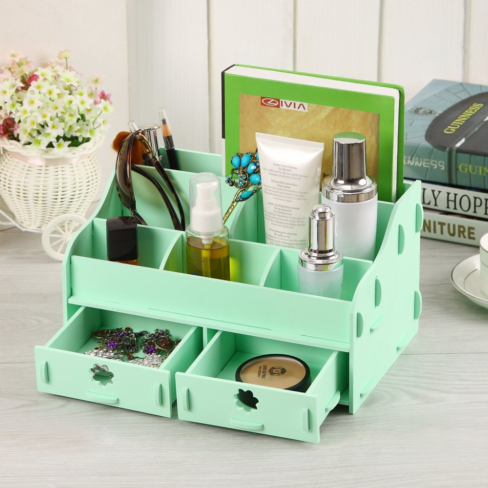 Cozy Colors Wooden Desk Cosmetic Makeup Organizer DIY Wood ...