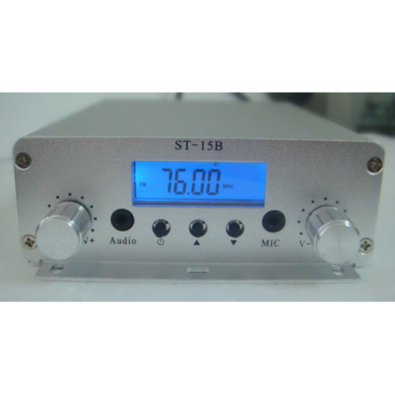 ST-15BV3 15W 76~108Mhz LCD Digital PLL stereo high-power FM transmitter amplifier free shipping czh 15a 15w fm radio broadcast pll transmitter fm transmitter silver color
