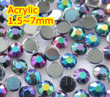 Jelly Black AB Color 1.5~7mm Flat Back Round Acrylic Beads / Stones ,Acrylic Resin 3D Nail Art / Garment