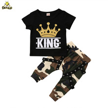 цена на SONDR 2Pcs Boy Short Sleeve King Print T Shirt Top and Camouflage Pants Set for Boy and Baby boutique Kids Clothes