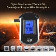 Цифровой дыхательный Алкотестеры ЖК-дисплей Алкотестер анализатор с 5 мундштук Высокая чувствительность Professional Quick Response
