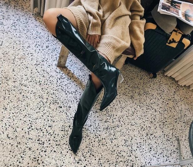 New 2019 Spring Black/Green Patent Leather Pointed Toe V Shape Open Slip On Transparent Wedge 85 mm Heels Knee High Long Boots - 4