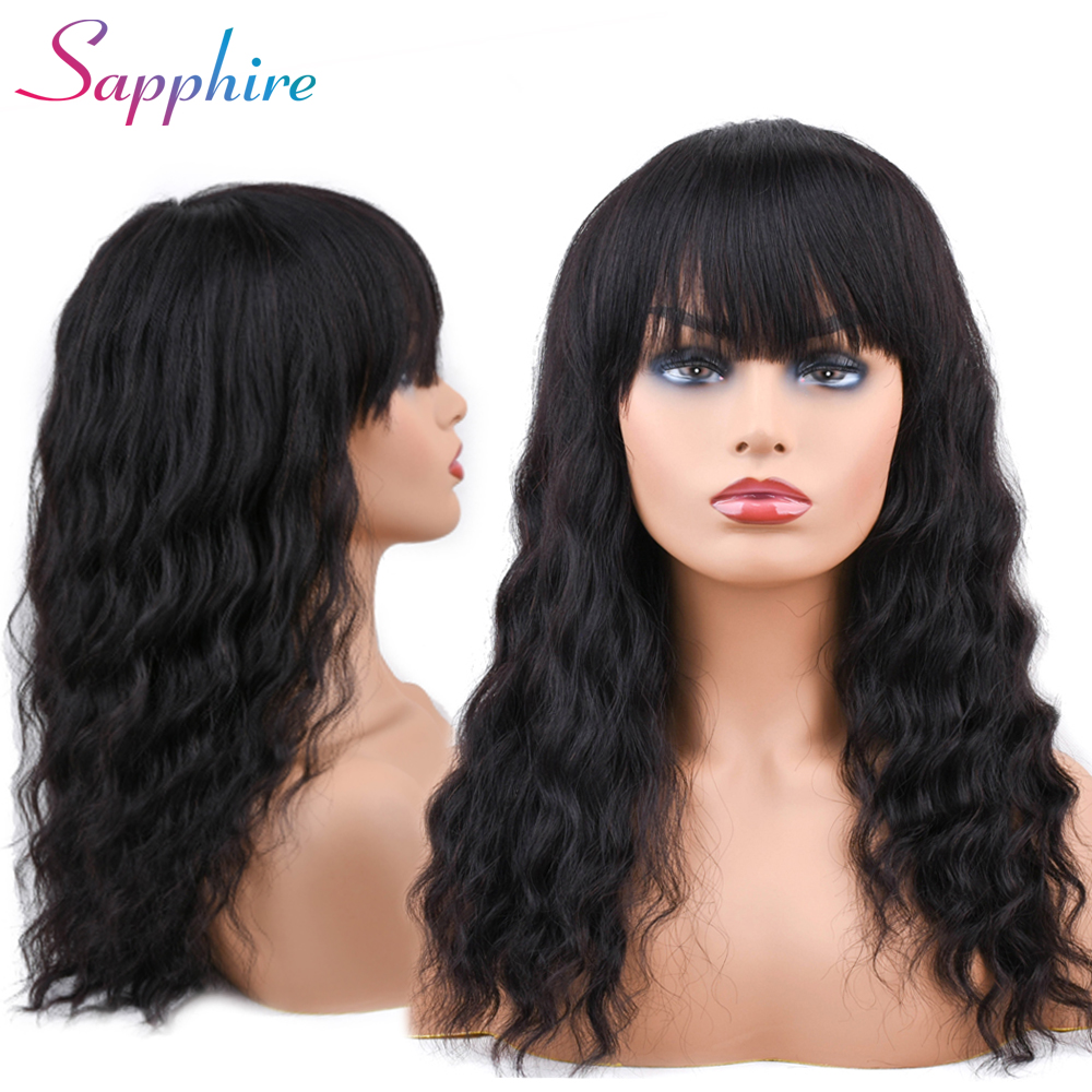 Sapphire Malaysian Ocean Wave Human Hair Wigs With Adjustable Bangs 14inch Short Wigs Machine Natural Color