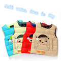 Retail 2016 New Baby Boys and Girls Winter cartoon Vest Kids Warm Jacket Children Thick Clothes 4 Color Suit For 3-7 Years Old