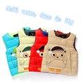 Varejo 2016 Novos Meninos e Meninas Do Bebê do Inverno dos desenhos animados Veste Crianças Crianças Casaco quente Roupas Grossas 4 Cores Terno Para 3-7 Anos velho