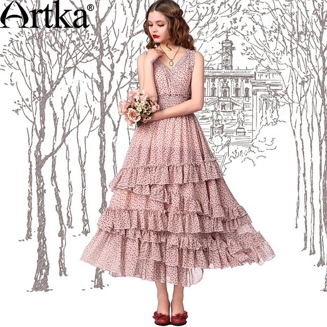 af1129bf9e Artka Women s Alice Layered Dress Summer Expansion Bottom Print Chiffon  Sleeveless Floral Dress LA11542X