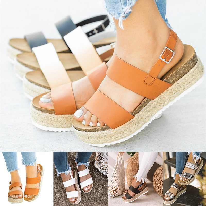 PUIMENTIUA Women Sandals 2019 New Platform Sandals With Wedges Shoes Women Summer Chaussures Femme Leather Chunky Heels Sandals