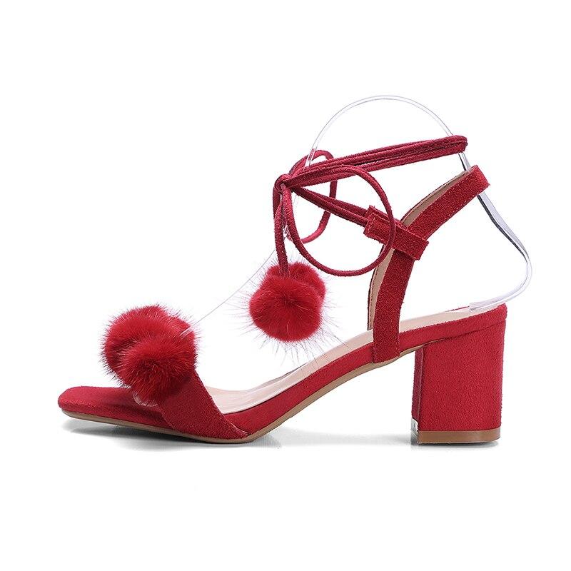 D'été Carré rouge Femme Femmes Véritable Talons Doratasia Sandales Cuir Haute Liée En Daim Croix Vache Noir Parti Rouge Chaussures wqIISpB