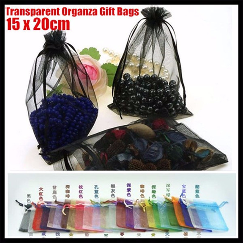 1000pcs! 20x15cm Transparent Organza <font><b>Bags</b></font>,Weddings,Celebrations,Jewelry,Chocolate Candy,Handicrafts Gift Wrapping <font><b>Packaging</b></font> <font><b>Bag</b></font> image
