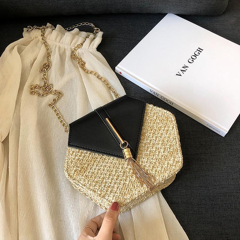 Hexagon Mulit Style Straw+leather Handbag Women Summer Rattan Bag Handmade Woven Beach Circle Bohemia Shoulder Bag New Fashion 23