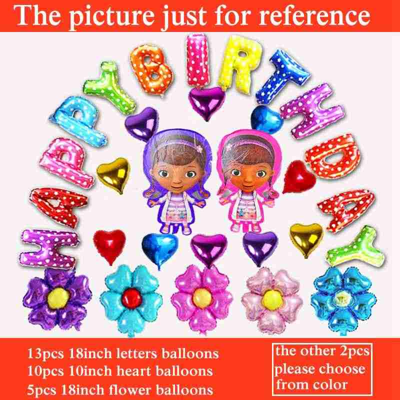 Detail Feedback Questions About 30pcs Lot Happy Birthday Balloon Set A2 Heart Letters Flowers And Doc McStuffins Balloons Little Toy Doctor Clinic