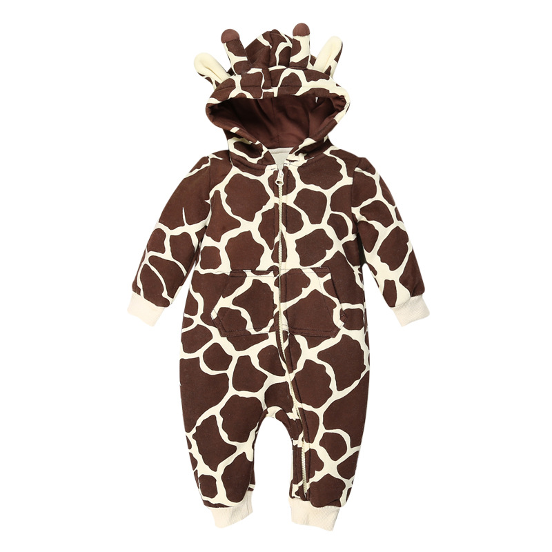 Cartoon Giraffe Baby Rompers Winter Thick Cotton Boys Costume Girls Warm Clothes Kid Jumpsuit Children Outerwear Baby Wear baby clothing infant baby kid cotton cartoon long sleeve winter rompers boys girls animal coverall jumpsuits baby wear clothes