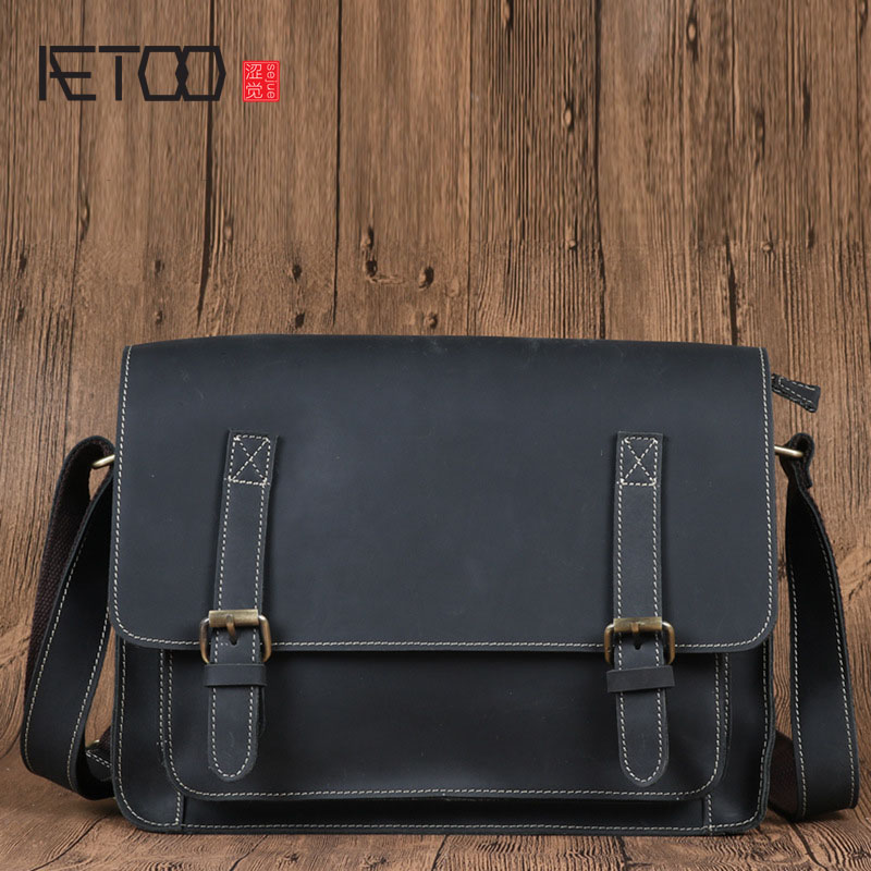 AETOO Men's leather bag leisure first layer of leather shoulder bag Messenger bag male qiaobao 2018 new korean version of the first layer of women s leather packet messenger bag female shoulder diagonal cross bag