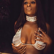 Best lady Fashion Layer Sexy Bra Body Necklace Chain Summer Rhinestone Statement Necklace & Pendant Women Brassiere Jewelry 5161