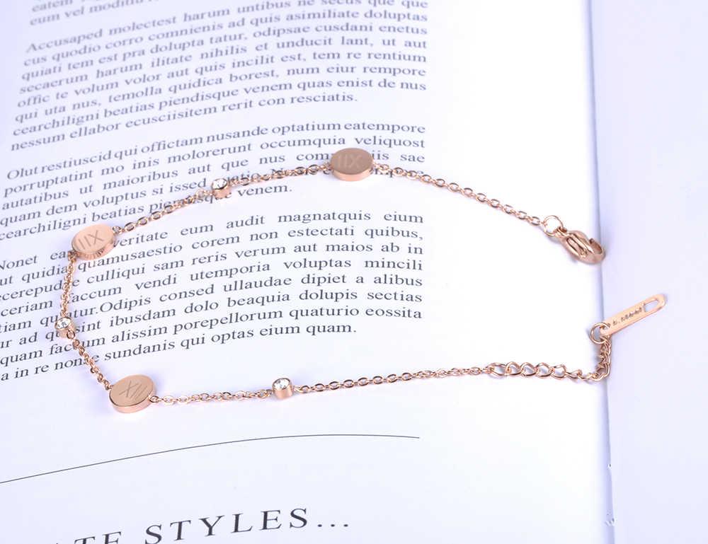 JeeMango נירוסטה צמיד רומי ספרות רוז זהב צבע קישור שרשרת Rhinestones מאהב של אירוסין תכשיטי B18177
