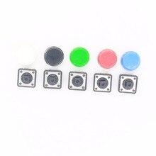 20 шт. тактильная нажимная кнопка переключатель мгновенный 12*12*7,3 мм микро-кнопка переключения+(20 шт. 5 цветов тактильная крышка) 12X12X7,3 мм черный