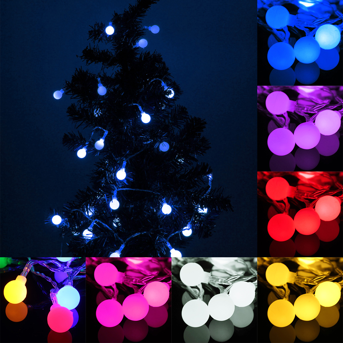 5M 50LED Battery Globe Patio Outdoor String Light Remote Christmas Wedding Party LED Lighting Strings