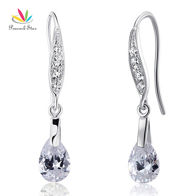 Peacock Star Dangle Drop Earrings Solid Sterling 925 Silver Wedding Bridal Bridesmaid Jewelry CFE8018