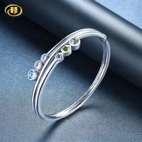 Hutang Green Amethyst Bangle Solid 925 Sterling Silver Natural Gemstone Peridot Aquamarine Blue Topaz Fine Fashion Jewelry Gift
