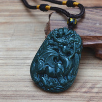 Natural Dark Green Hetian Stone Pendant 3D Carved Chinese Dragon Pendants Women Men S Amulet Nephrite
