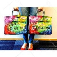 2018 Новая мода Граффити Для женщин сумки на плечо топ ручка сумки Курьерские сумки женские сумки кожаные Сумки 40 см Повседневное сумки Y