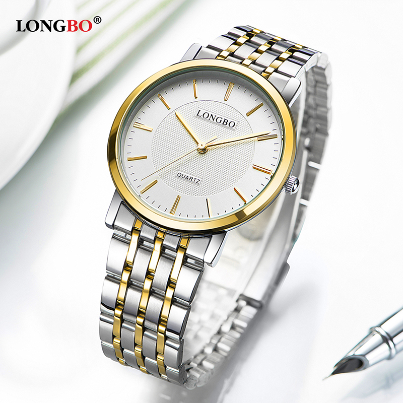 LONGBO Quartz Watch Lovers Watches Female Gifts Couple Analog Watches Men Steel Wristwatches Fashion Casual Women Watches 80279