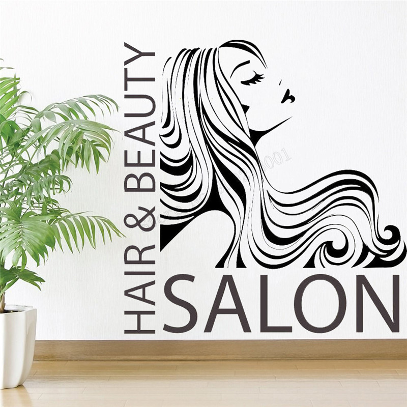 Art Wall Sticker Hairstylists Wall Decoration Vinyl Art Removeable Poster Hairdresser Mural Modern Beauty Salon Sticker LY256 in Wall Stickers from Home Garden