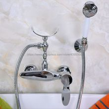 Polished Chrome Wall Mounted Bathroom Shower Faucet Bath Mixer Tap With Hand Shower Sprayer Mixer Tap Bna258 polished chrome led rain shower head valve mixer tap w hand shower sprayer