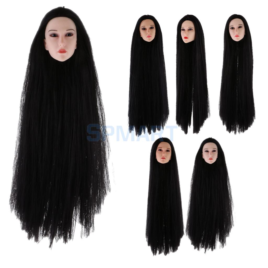 1/6 Scale Long Hair Female Head Sculpt Head Model Body Parts Accessories for 12 inch Action Figure Phicen Kumik ns novelties go go rabbit белый вибромассажер в форме кролика