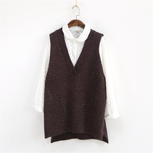 Image 5 - Johnature Women Sweaters V Neck Sleeveless Loose 2020 Autumn New Korean Fashion Hollow Out 4 Colour Casual Tops Vest Sweaters