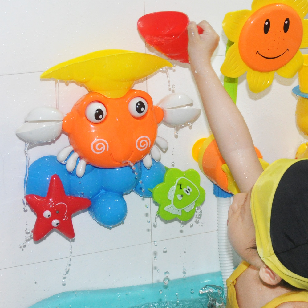 Funny Baby Water Game Bath Toy Gift Cute Crab Rotating Starfish and Fish Summer Children Bathing Toys In The Bathroom Shower