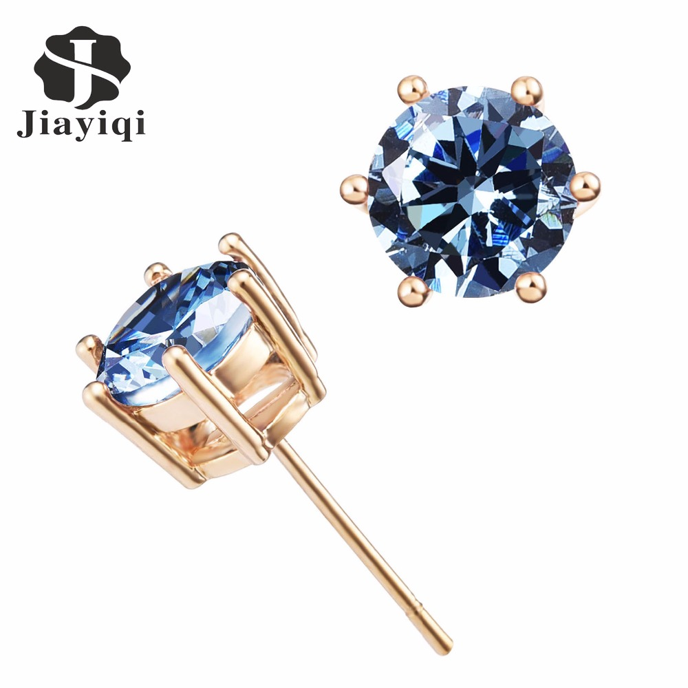 Cheap 2017 Stud Earrings in Plated Gold with AAA Round Brilliant ImitationCrystal font b Fine b