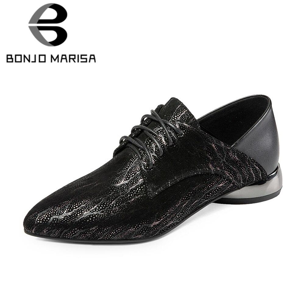 BONJOMARISA 2019 Frühjahr Neue Ankunft Große Größe 33 41 Fashion Echtes Leder Pumpen Frauen Casual Niedrigen Absätzen Büro Damen arbeit Schuhe-in Damenpumps aus Schuhe bei  Gruppe 1