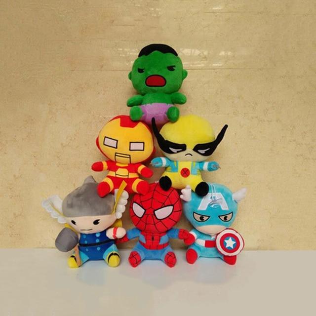 18 cm Super Heros Capitão América Ironman Hawkeye Thor Hulk Spiderman Stuffed Plush Toy Brinquedos Bonecas Presentes para As Crianças