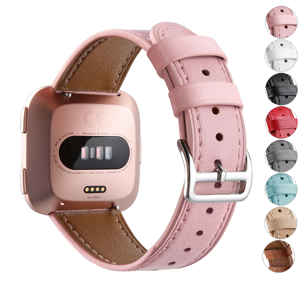 Essidi Premium Sweatproof Leather Wristband Strap Replacement For Fitbit Versa Smart Watch Bracelet Band Strap