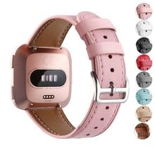 Essidi Премиум Sweatproof кожаный браслет ремешок Замена для Fitbit Versa Смарт-часы браслет ремешок