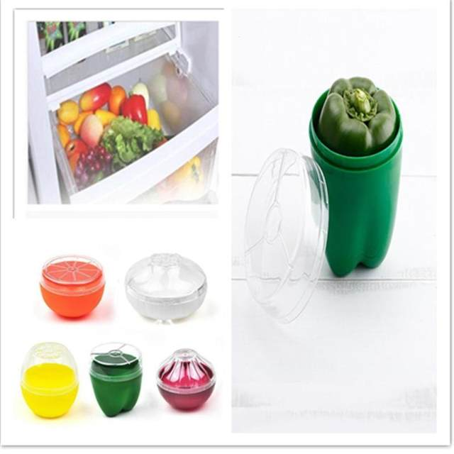 Online Shop Green Pepper Lemon Onion Saver Food Storage Box Crisper
