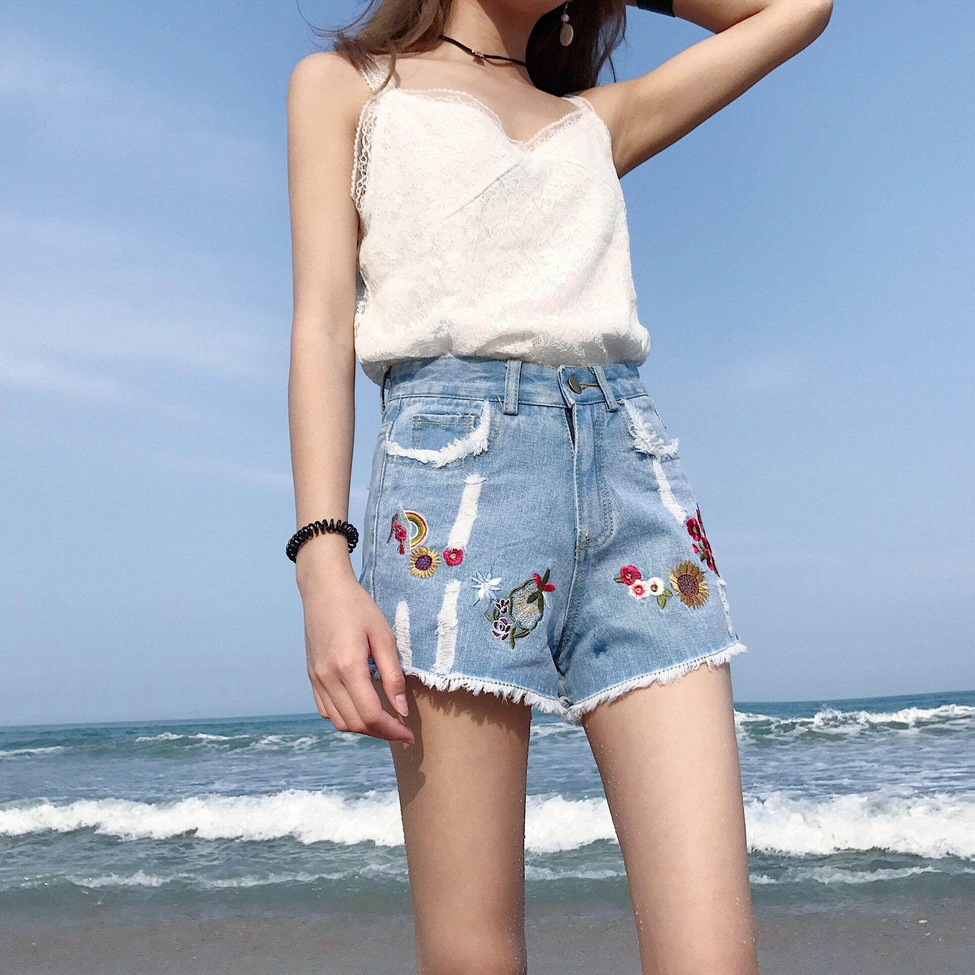 Real shot 2017 Korean version of the retro loose high waist wide leg pants jeans embroidery holes casual shorts female