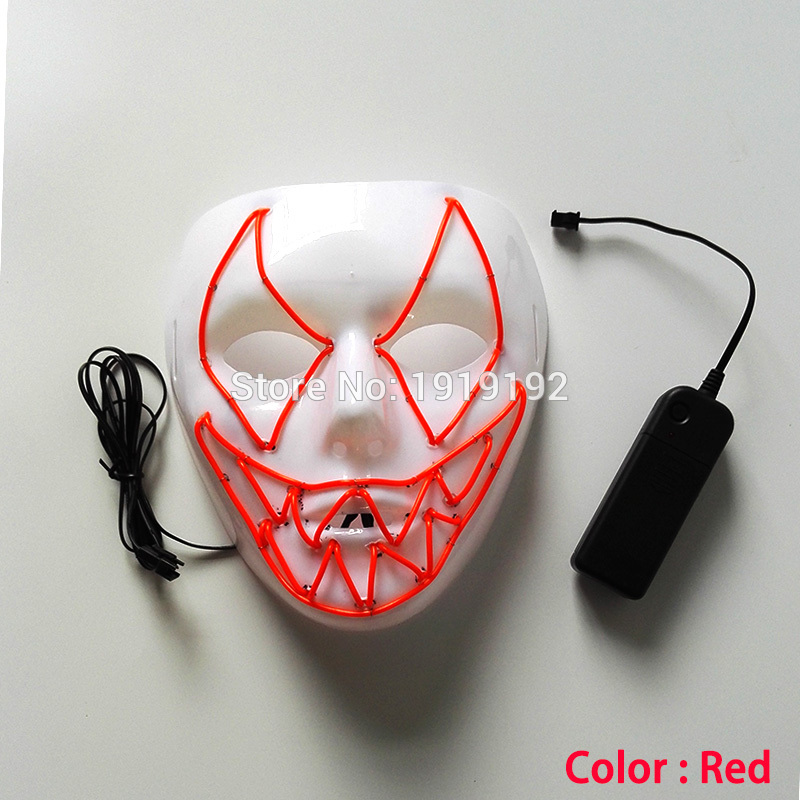 10 color EL Wire Mask Luminous LED Glowing iluminated Light up dance performance Headpiece By 3V Steady on Driver