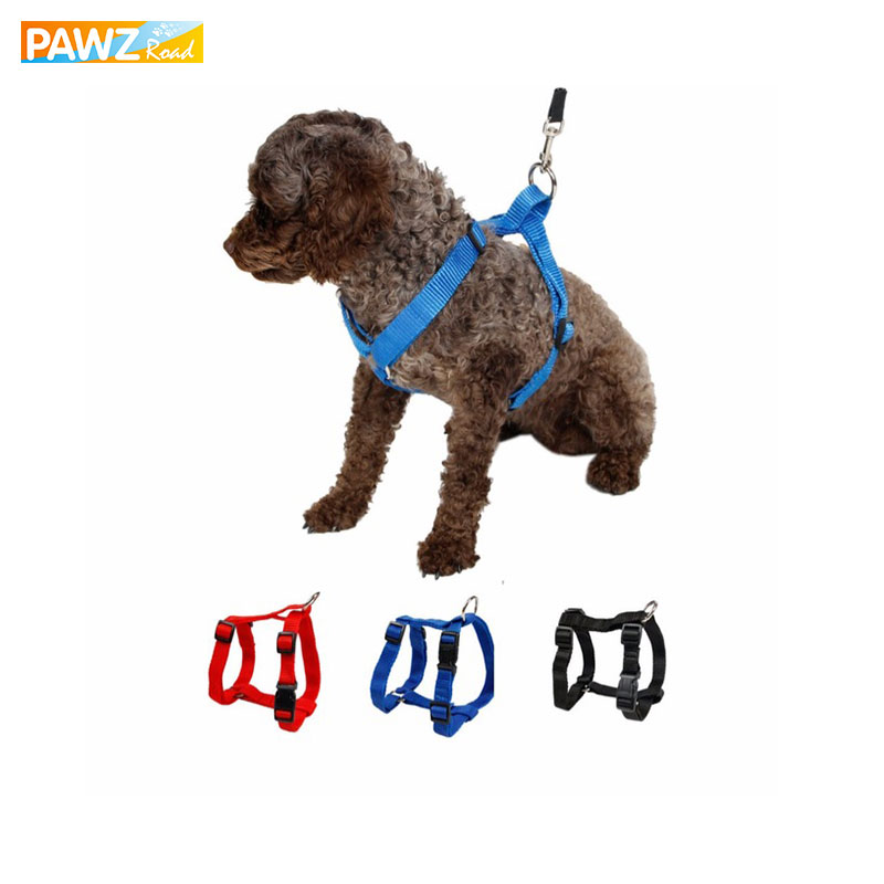 Pet Harness Nylon Justerbar Sikkerhedskontrol Restraint Kat Puppy Dog Harness Soft Walk Vest Stor Hund 3 Farver Dyr Harness