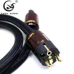 XSSH audio Hi-End Hifi amplifier OFC Pure Copper Schuko Euro EU+IEC AC Female Male Gold Plated Power Plug Power Cable Cord Wire