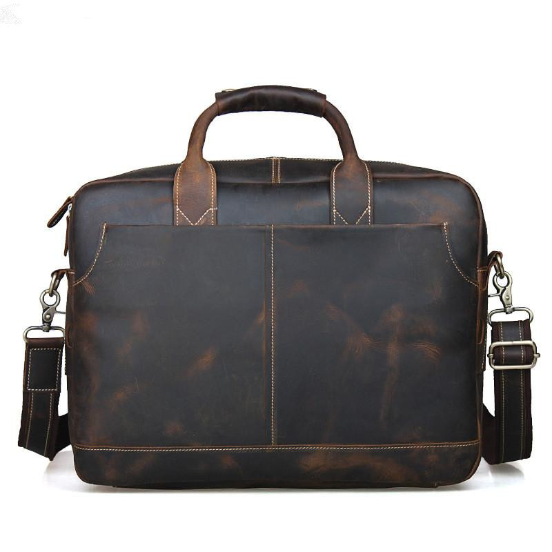 TIDING Genuine Leather Men Bag Vintage Briefcase Messenger Bag Handmade Mens Leather Brand Handbag 14 Inch Laptop Shoulder Bag