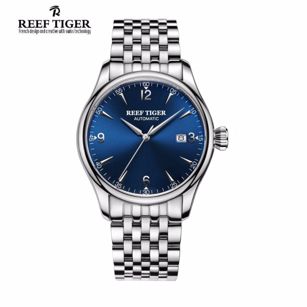 Reef Tiger/RT Men's Business Automatic Watches with Date Waterproof Full Stainless   Steel Watch with Blue Dial RGA823G reef tiger designer fashion diamonds automatic watch with white mop dial steel watches for women rga1550