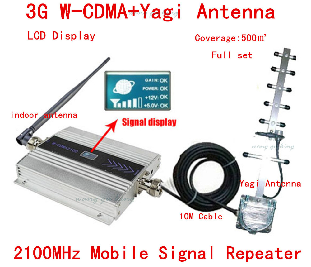 HOT Full set 3G UMTS 2100MHZ WCDMA LCD Repeater Cell Phone Mobile Signal Repeater / Amplifier / booster +Yagi Antenna +10m Cable