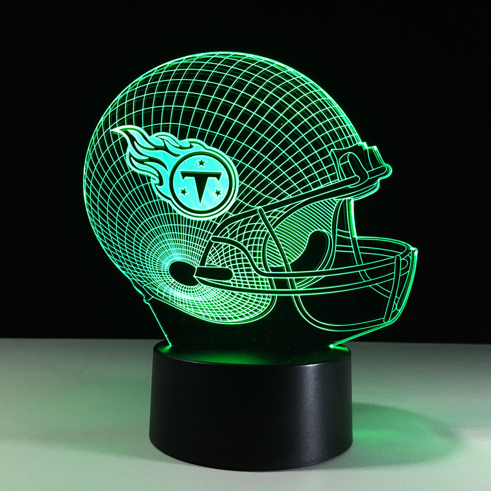 3D LED American Football Cap Night Lights Colorful Gradient Mood Rugby Helmet Desk Lamp USB Bedside Sleep Lighting Decor Gifts