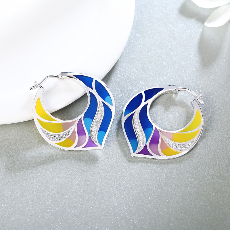 Authentic Earrings 925 Sterling Silver Colorful Enamel Flower drop Earring White Cubic Zirconia for Women Party fashion Jewelry