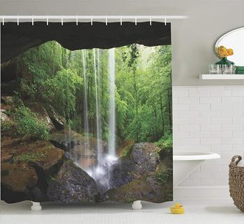 Natural Cave Decorations Shower Curtain Still Waterfall in The Forest in Northern Alabama Habitat Scenery Bathroom Accessories