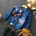 Мода джинсовые девушки куртки и пальто осень 2016 детская одежда для девочек Кардиган костюм 2-8years дети верхняя одежда наряды