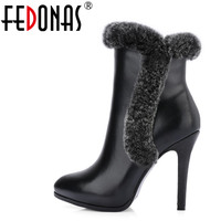 FEDONAS Fashion Women Warm Rabbit Fur Genuine Leather Ankle Boots Sexy Pointed Toe Soft Leather Martin Shoes Woman Party Pumps