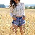 Старинные разорвал отверстие голубой бахромой джинсовые шорты женщины Повседневная карманный джинсы шорты 2016 летней девушки горячая короткие LZH7